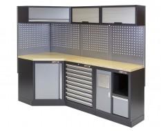 Komplette Werkstatteinrichtung, Werkbank + Eckverbindung mit Multiplexplatte - Werkstatt Set 223 x 200 cm.