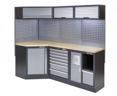 Komplette Werkstatteinrichtung, Werkbank mit Eckverbindung und Multiplexplatte - Werkstatt Set 223 x 200 cm.