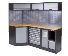 Komplette Werkstatteinrichtung, Werkbank mit Eckverbindung und Hartholzplatte - Werkstatt Set 223 x 200 cm.
