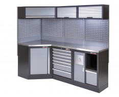 Komplette Werkstatteinrichtung, Werkbank mit Eckverbindung und Metallplatte - Werkstatt Set 223 x 200 cm.
