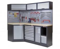 Komplette Werkstatteinrichtung, Werkbank + Eckverbindung und Multiplexplatte bestückt mit Werkzeug - Werkstatt Set 223 x 200 cm.