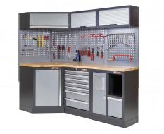 Komplette Werkstatteinrichtung, Werkbank + Eckverbindung und Hartholzplatte bestückt mit Werkzeug - Werkstatt Set 223 x 200 cm.