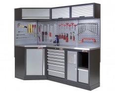 Komplette Werkstatteinrichtung, Werkbank + Eckverbindung und Metalplatte bestückt mit Werkzeug - Werkstatt Set 223 x 200 cm.