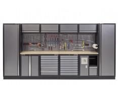 Komplette Werkstatteinrichtung mit Multiplexplatte - Werkstatt Set 392 x 46 x 200 cm - 17 Schubladen