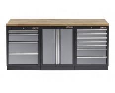 Werkstatt Set mit Hartholzplatte - 11 Schubladen - Werkstatteinrichtung - 204 x 46 x 94,6 cm