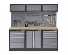 Werkstatt Set mit Hartholzplatte, Werkzeugschrank, Lochwand, 3 x Hängeschrank - 11 Schubladen - 204 x 46 x 200 cm