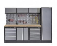 Werkstatt Set mit Hartholzplatte, Hoher Werkzeugschrank, Lochwand, 3 x Hängeschrank - 11 Schubladen - 204 x 46 x 200 cm