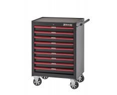 Werkstattwagen Rot/Schwarz 9 Schubladen abschließbar mit Schlüssel - Werkzeugwagen leer