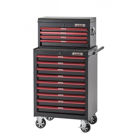 Werkstattwagen Set Rot/Schwarz 13 Schubladen - Werkzeugwagen Set