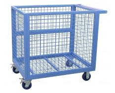 Blauer Gitterwagen mit Rollen und klappbarer Seitenwand 112 x 72 x 100 cm - Gitter Transportwagen