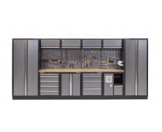 Komplette Werkstatteinrichtung mit Hartholzplatte, Werkstatt Set 455 x 200 cm - 10 Schubladen