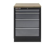 Werkbank aus Metall mit 4 Schubladen und Multiplexplatte 68 x 46 x 91 cm