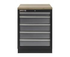 Werkbank aus Metall mit 5 Schubladen und Multiplexplatte 68 x 46 x 91 cm