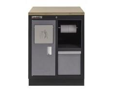 Werkbank aus Metall mit Mülleimer und Multiplexplatte 68 x 46 x 94,8 cm