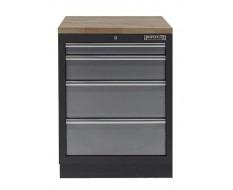 Werkbank aus Metall mit 4 Schubladen und Hartholzplatte 68 x 46 x 94,8 cm