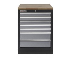 Werkbank aus Metall mit 7 Schubladen und Hartholzplatte 68 x 46 x 94,8 cm