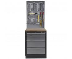 Werkbank aus Metall mit 4 Schubladen, Hartholzplatte und Werkzeuglochwand 68 x 46 x 200 cm