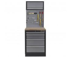 Werkbank aus Metall mit 4 Schubladen, Hartholzplatte + Werkzeuglochwand und Hängeschrank 68 x 46 x 200 cm