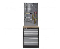 Werkbank aus Metall mit 7 Schubladen, Hartholzplatte und Werkzeuglochwand 68 x 46 x 200 cm