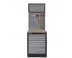 Werkbank aus Metall mit 7 Schubladen, Hartholzplatte + Werkzeuglochwand und Hängeschrank 68 x 46 x 200 cm