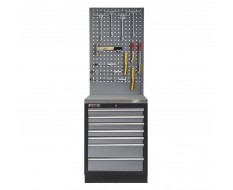 Werkbank aus Metall mit 7 Schubladen, Metallarbeitsplatte und Werkzeuglochwand 68 x 46 x 200 cm