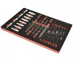 Feilen Set für Metall - lange Sechskantschlüssel - Körner - Durchtreiber - 31-teilig in Einlage