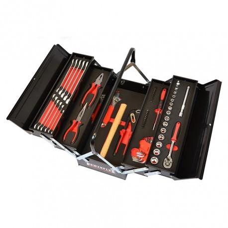 Werkzeugkiste schwarz gefüllt mit 64-tlg. Werkzeug in Schaumstoffeinlage