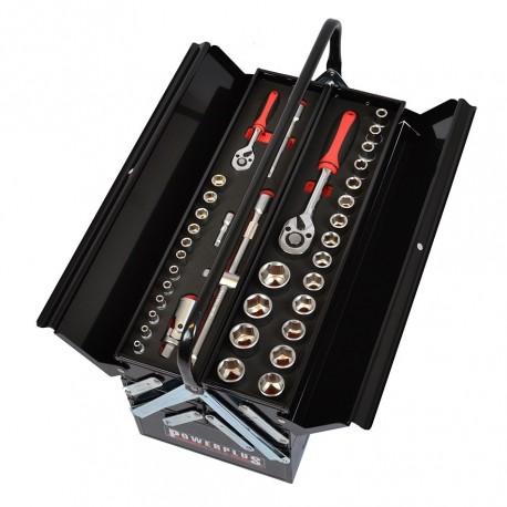 Werkzeugkiste schwarz gefüllt mit 86-tlg. Werkzeug in Schaumstoffeinlage