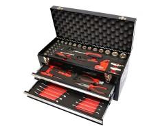 Werkzeugkiste Schwarz 2 Schubladen gefüllt mit 84-tlg. Werkzeug in Schaumstoffeinlage
