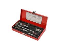 Steckschlüssel Set 1/4 Zoll - 39-teilig, Bits, Ratschen und metrische Steckschlüssel