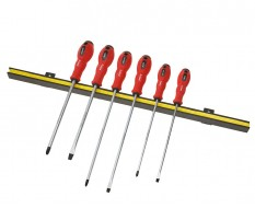 Magnetleiste inkl. Schraubendreher lange ausführung set - Kreuz - Schlitz 6-teilig