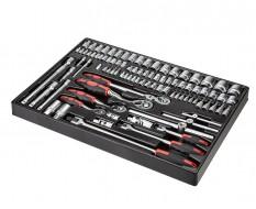 Knarren - Gelenk Knebel - Steckschlüsselsatz 93-teilig in Werkzeugeinlage