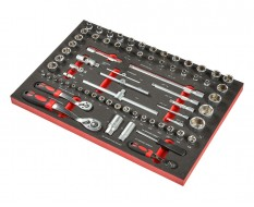 Knarren Set, Steckschlüsselsatz 56-teilig in Schaumstoffeinlage