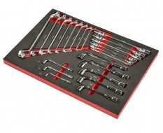 Ringschlüssel, Doppelgelenkschlüssel, Pfeifenkopfschlüssel Set 22 tlg. – Schaumstoffeinlage