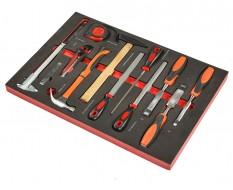 Stechbeitel – Hammer – Maßband – Holzfeile – Fühlerlehren Set 13 teilig in Schaumstoffeinlage