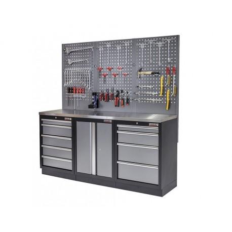 Werkstatt Set mit Metallarbeitsplatte, Werkzeugschrank - Lochwand - 9 Schubladen - Werkstatteinrichtung - 204 x 46 x 94,6 cm