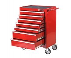 Werkstattwagen Rot 7 Schubladen - davon 5 Schubladen gefüllt mit Werkzeug in Schaumstoffeinlage