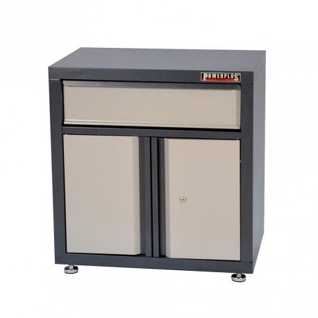 Werkzeugschrank Grau - 2 Türen + 2 Schubladen - 68 x 46 x 72 cm - Werkstattschrank mit 2 Schubladen