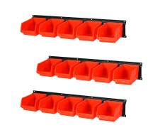 Wand Ablagesystem - 15 Kunststoff Lagerboxen 16 x 10 x 7,5 cm. + 3 Gerätehalterschienen 61 x 10 cm.