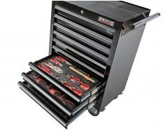 Werkstattwagen Schwarz 9 Schubladen - davon 9 Schubladen gefüllt mit Werkzeug 242-teilig in Schaumstoffeinlage