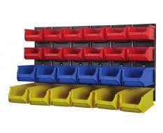 Set Metallwandhalterung mit 24 Kunststoff Lagerboxen - Wand Ablagesystem