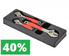 3 Rollgabelschlüssel - verstellbarer Maulschlüssel 6 + 8 + 10 zoll mit Lebenslange Garantie