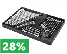 Ringschlüsselsatz - Gabel - Offen und gekröpft 39 teilig in Werkzeugeinlage