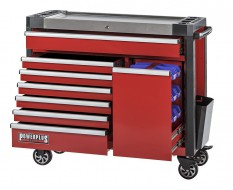Werkstattwagen rot 11 Schubladen + Schublade mit Sichtlagerkästen 111 x 48 x 101 cm