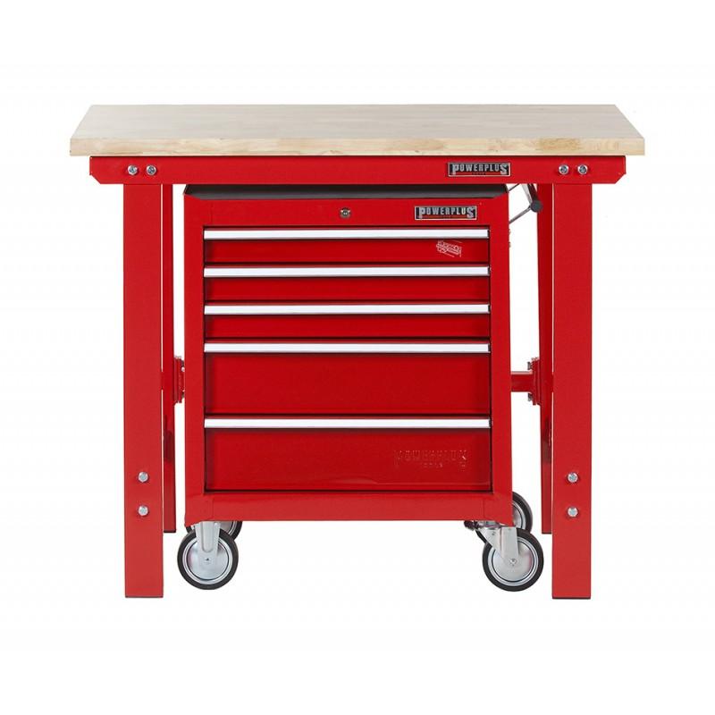 profi werkbank 120 cm werkstattwagen rot 5 schubladen powerplustools gmbh. Black Bedroom Furniture Sets. Home Design Ideas