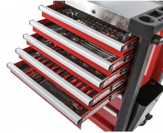 Werkstattwagen bestückt rot 7 Schubladen 72 x 48 x 101 cm - davon 5 Schubladen gefüllt mit Werkzeug