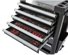 Werkstattwagen bestückt schwarz 7 Schubladen 72 x 48 x 101 cm - davon 5 Schubladen gefüllt mit Werkzeug