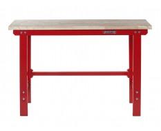 Werkbank 150 cm Stahl ( Rot ) Hartholz - Kap. 1000 kg