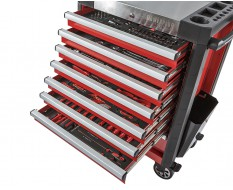 Werkstattwagen bestückt rot 8 Schubladen 72 x 48 x 101 cm - davon 7 Schubladen gefüllt mit Werkzeug