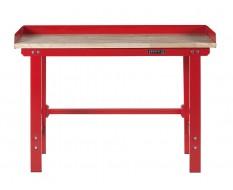 Werkbank 150 cm Stahl ( Rot ) Hartholz + Rand 7 cm. - Kap. 1000 kg.